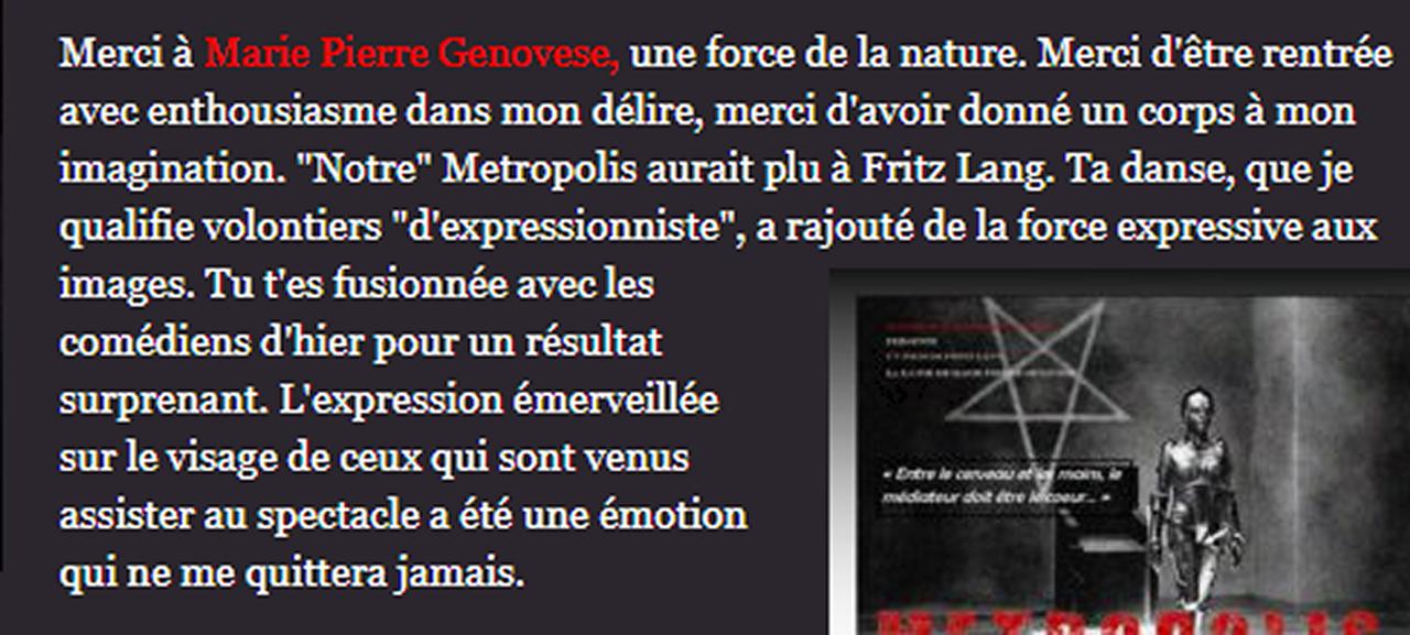 Marie-Pierre Genovese et Métropolis