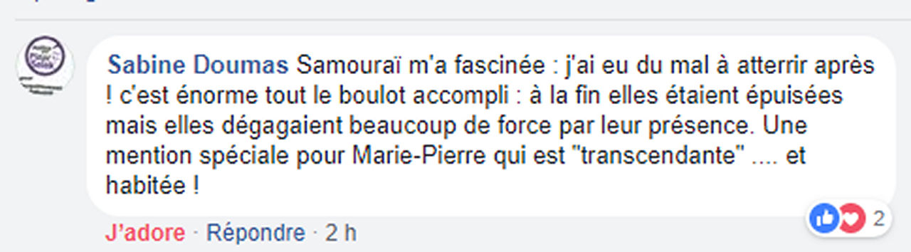 Marie-Pierre Genovese et commentaires Samouraï