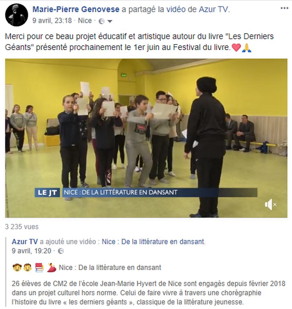 Marie-PierreGenovese et les derniers géants Azur Tv