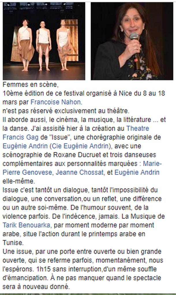 Marie-Pierre Genovese et Festival Femmes en Scènes Issue