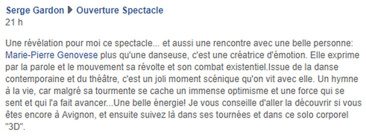 Marie-Pierre Genovese Off Avignon Presse
