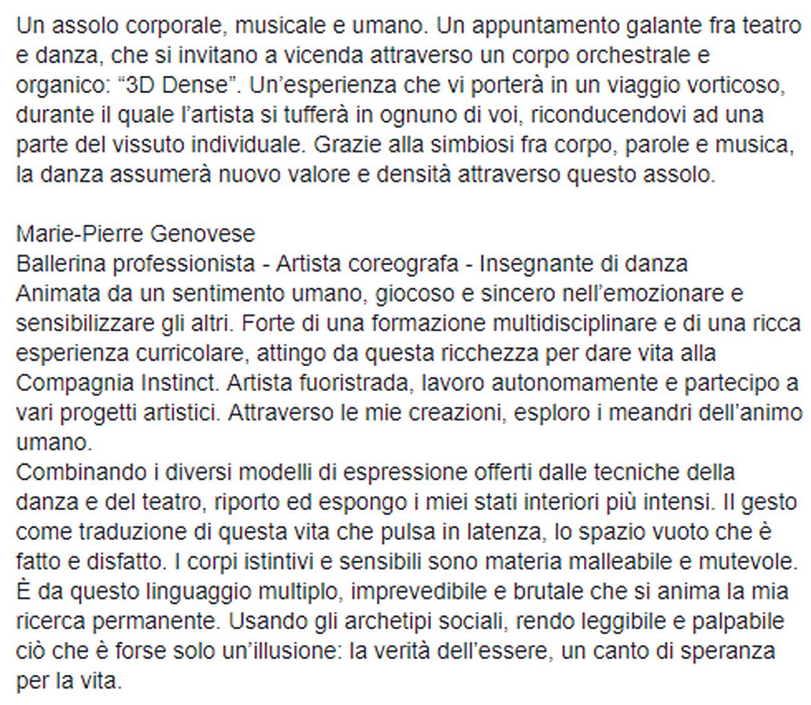 Marie-Pierre Genovese 3DDense Italie
