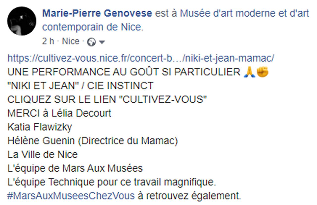 Marie-Pierre Genovese Mamac Performance